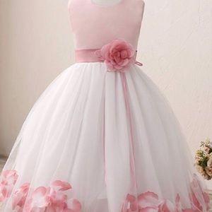 🌸New! Pink Rose Flower Petals Bridal Party Dress